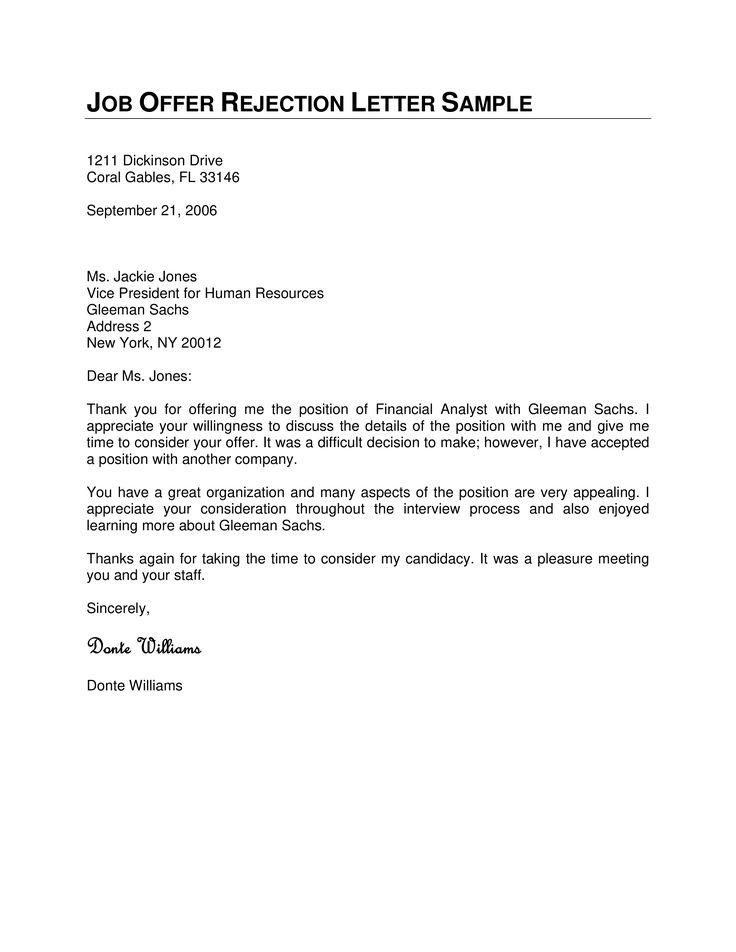 Job Offer Rejection Letter How To Write A Job Offer Rejection