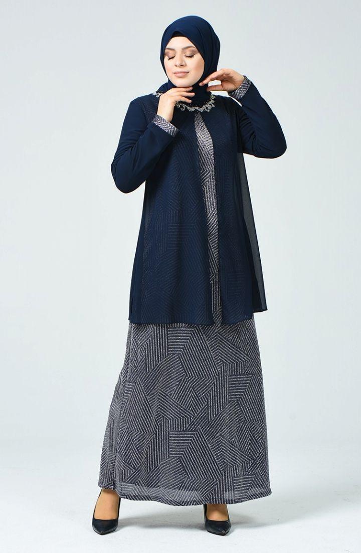 Sefamerve Buyuk Beden Simli Abiye Elbise 1012 01 Indigo 2020 Elbise Elbise Modelleri The Dress