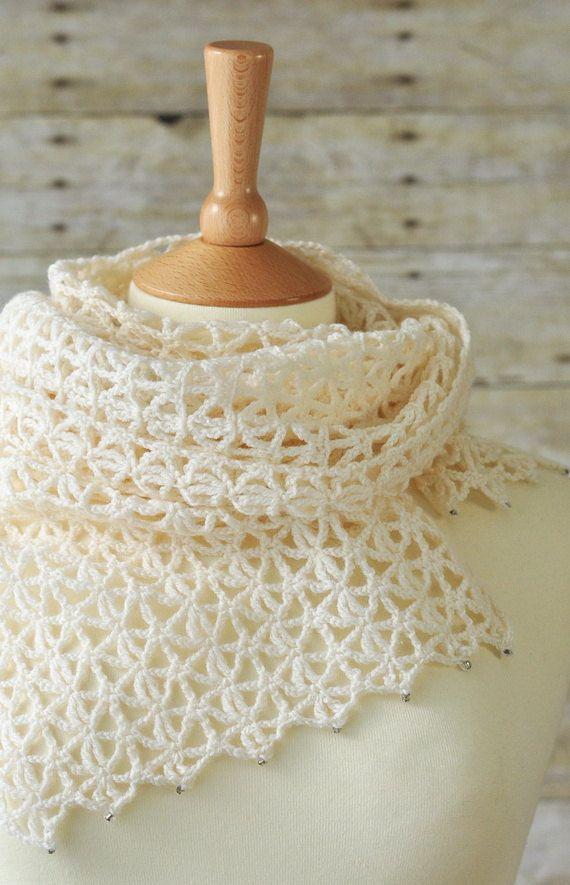 scarf / Pizzo uncinetto sciarpa lana bianco di woolnwhite su Etsy