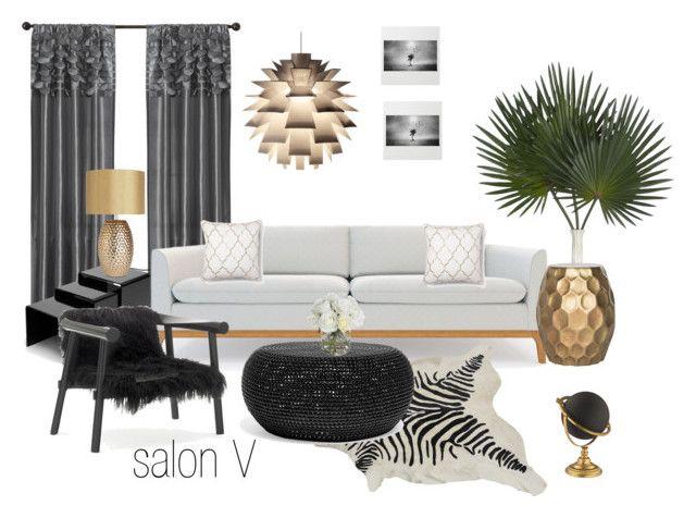salon V by a-filipczak on Polyvore featuring interior, interiors, interior design, dom, home decor, interior decorating, Rove Concepts, Safavieh, Normann Copenhagen and Palecek