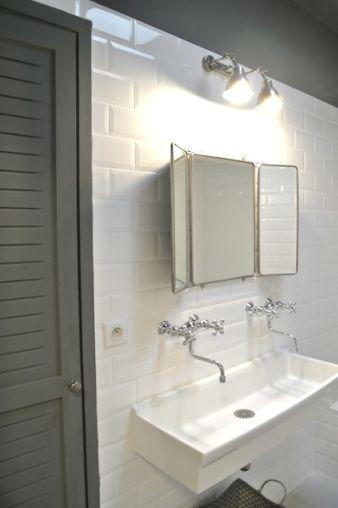 Mirror White Subway Tiles White Trough Sink