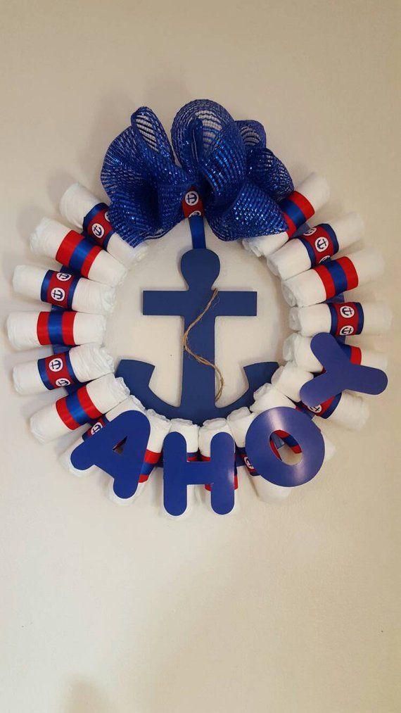 "Nautical Baby Diaper Wreath ""Ahoy It's a Boy"""