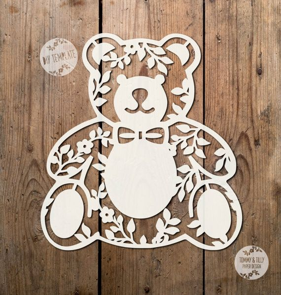 COMMERCIAL USE Teddy Bear Designs x 3. Papercutting / Vinyl Template to cut yourself in SVG and PDF format.  Small Business Commercial Licence Included!!!   *****ITEM DESCRIPTION*****   - A perfect design for hand or machine paper cutting! Digitally traced from an original hand-drawing. Feel free to personalise the centre of the teddy bear with your own text.   - This item is a digital file, no physical item will be mailed. Once payment is confirmed you can download the files on the…