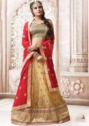Wedding Wear Beige Net Heavy Embroidery Work Lehenga Choli