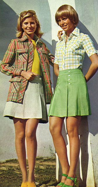 I like these button-down skirts.  So cute, so athletic!  The rest of the outfits.... well, not so much. (1973)