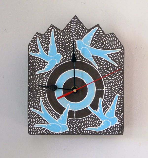 Clock blue birds on brown