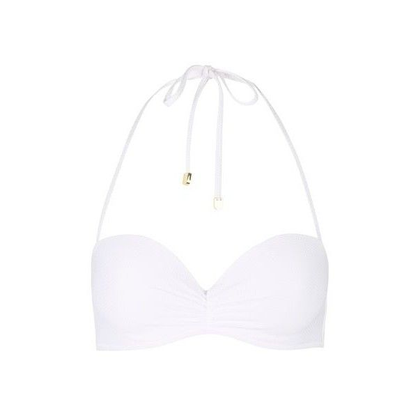TopShop Ruched Front Bandeau Bikini Top ($20) ❤ liked on Polyvore featuring swimwear, bikinis, bikini tops, white, underwire tankini top, bandeau bikini, bandeau swim tops, underwire bandeau bikini and white bandeau bikini