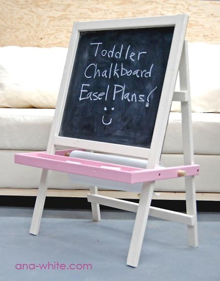 Toddler Chalkboard Easel, building plans. Add a clip to the top to hold paper for painting too.
