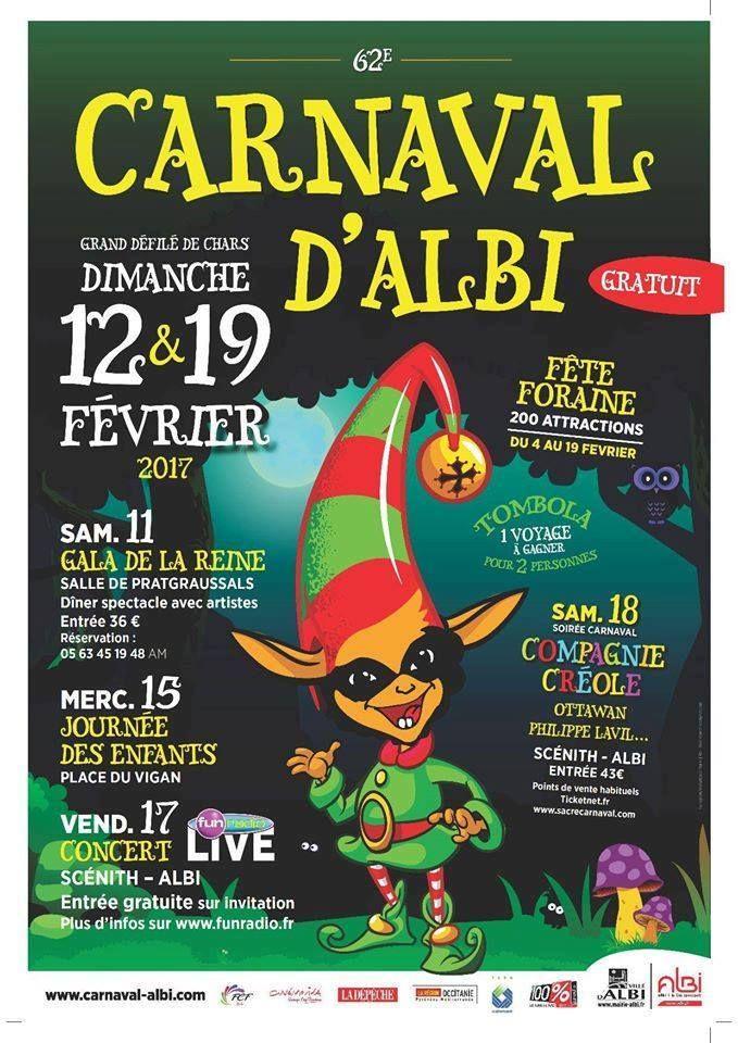 Affiche du Carnaval d'Albi 2017, une fête à vivre... près de Brin de Cocagne - chambre d'hôtes écologique de charme dans le Tarn - Brin de Cocagne #Albi #Tarn #occitanie #albitourisme #occitanietourisme