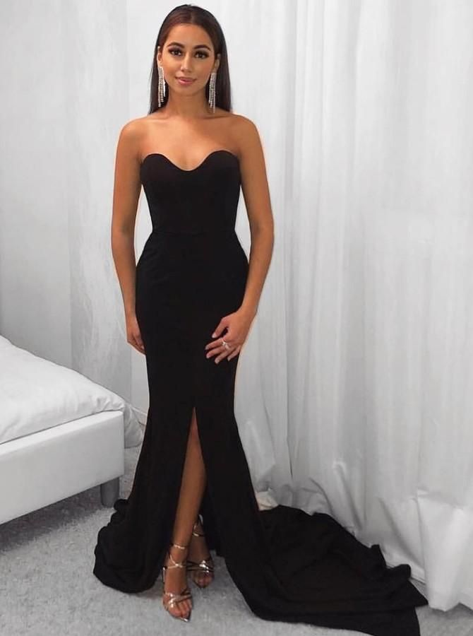 9cb3d9593a97 Sweetheart Black Mermaid Sweep Train Prom Dresses Simple Evening Dresses  with Slit
