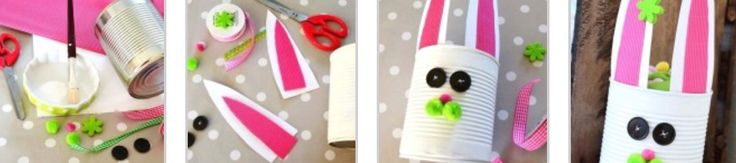 DIY : pots de crayon ou pot a friandise  Étapes 1 : peindre une boîte de conserve bien laver et désinfecter en blanc  Étapes 2 : découper des oreilles de lapin dans du papier blanc puis re découper des oreilles de lapin plus petite dans du papier colorés puis coller les a l'intérieure de la boîte de conserve   Étapes 3 : coller des boutons en guise d'yeux les ponpom pour la truffe et les petite joues  Etapes 4 : prenez du ruban faite un noeud puis fixer le noeud en bas de la boîte de…