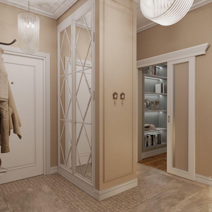 Раздвижная дверь ведет в гостиную. Гамма - спокойный бежевый и белый.