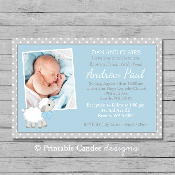 Boy Little Lamb Baptism or Christening by printablecandee on Etsy