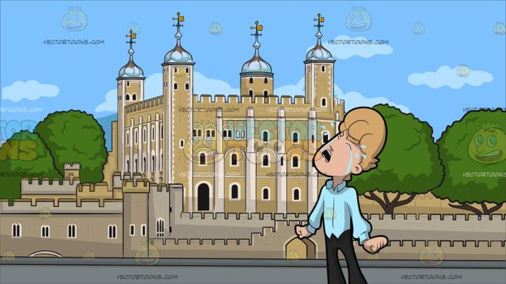An Upset Man Sobs Out His Frustration At The Tower Of London :  A man with blonde hair wearing light blue collared shirt black pants and shoes leans his head while sobbing out loud blue eyes shut and weeping with tears mouth opened to express his emotions both hands stretched down and rolled into a fist. Set in a historic castle in central london with beige brick walls four corner towers with cross and sky blue dome roofing surrounded by a water gate and trees .