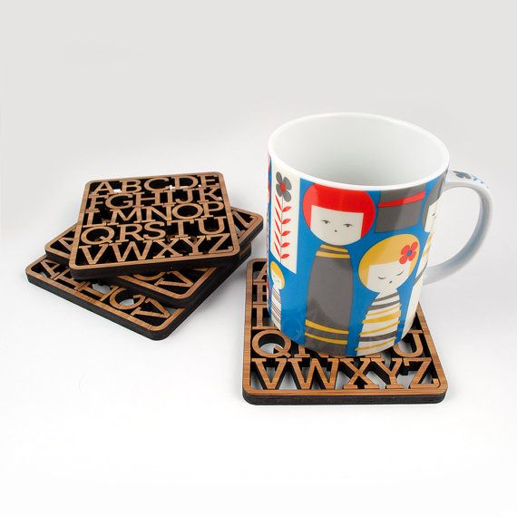 Bamboo Alphabet Coasters Modern Typography by graphicspaceswood, $38.00