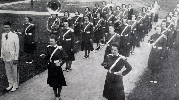 1936 band at Women's College of the University of North Carolina; founded in 1891 as State Normal and Industrial School, became State Normal and Industrial College in 1897, North Carolina College for Women in 1919, Women's College of the University of North Carolina in 1932, and University of North Carolina-Greensboro after 1963; source: @UNCGArchives