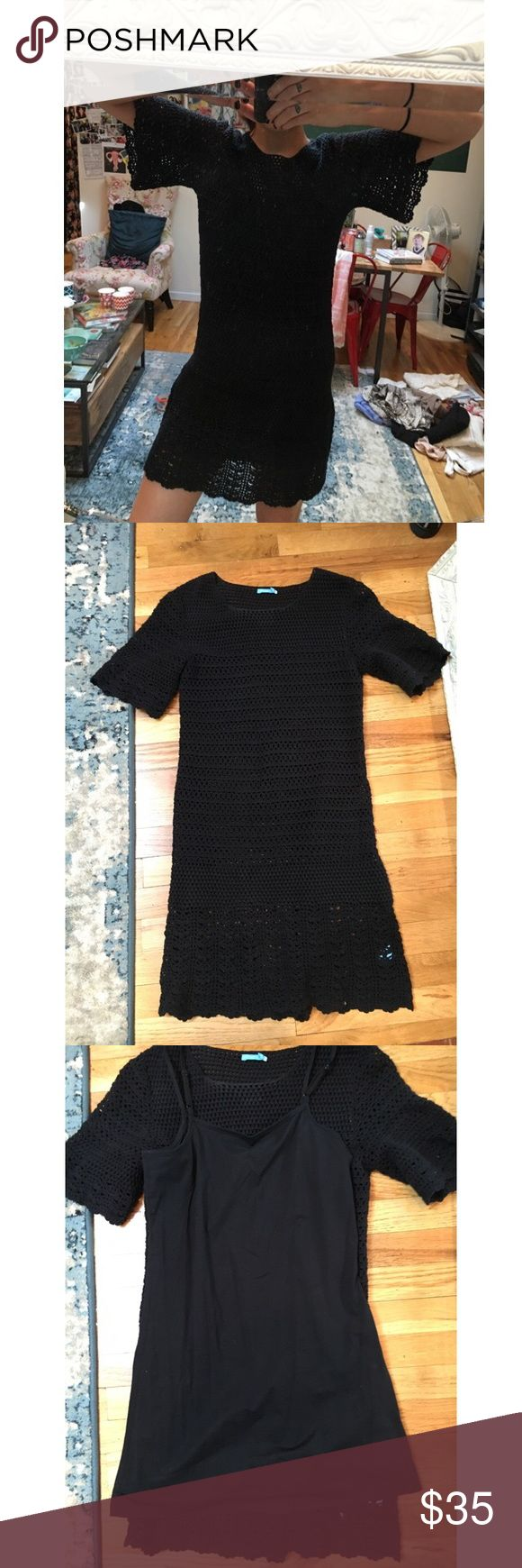 J. Maclaughlin black crochet short sleeve mini As seen in pictures. Comes with a slip, but looks super cool with a skirt slip and colorful bra. J. McLaughlin Dresses Mini