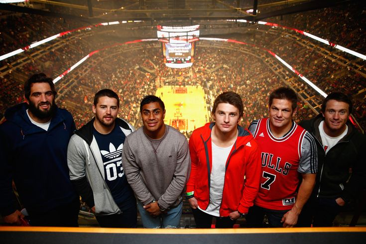 Richie Mccaw Photos Photos - (L-R) Sam Whitelock, Dane Coles, Malakai Fekitoa, Beauden Barrett, Richie McCaw and Ben Smith pose for a photo as they attend the Chicago Bulls v Cleveland Cavaliers NBA game at the United Center on October 31, 2014 in Chicago, Illinois. - New Zealand All Blacks Meet The Chicago Bulls