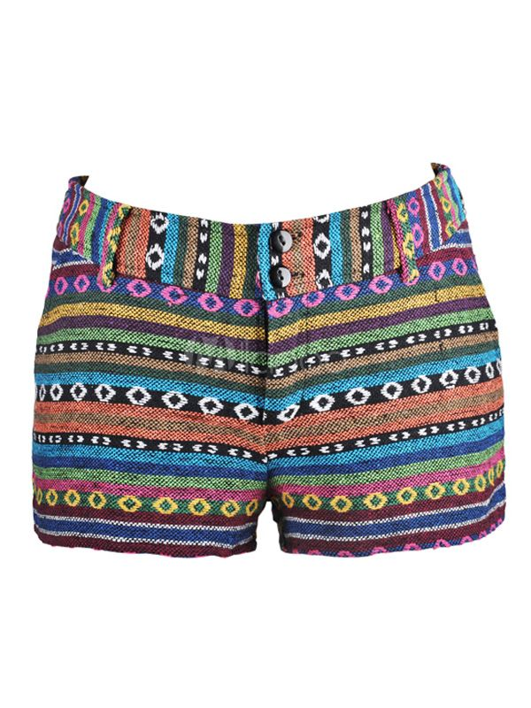 [$24.99] Multi Color Geometric Cotton Tribal Shorts For Women