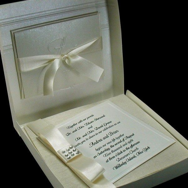 Boxed Couture Wedding Invitations   Black Tie Wedding   Ivory   Formal  Wedding    Invitation