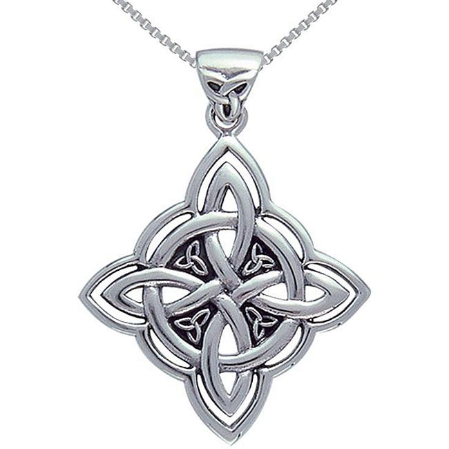 Celebrate your Celtic heritage with this pretty sterling-silver necklace designed in the shape of the Four Corner Knot of Protection. This pretty piece is hand finished and hangs on a delicate 18-inch chain with a reliable spring-ring clasp.