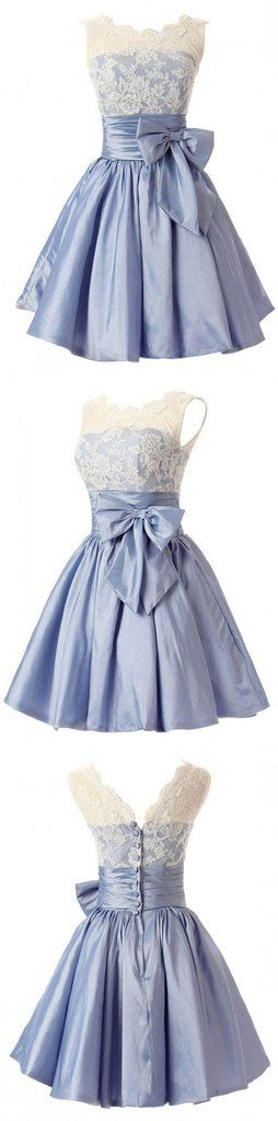 Fashion A-line Scoop Short Taffeta Blue Homecoming/Bridesmaid Dress With Bowknot