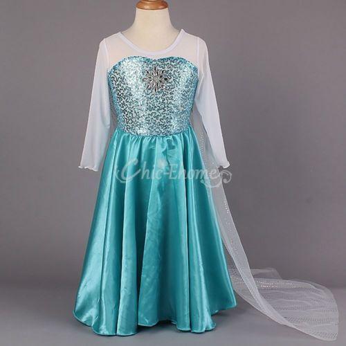 Neuf-Enfant-Fille-Robe-Deguisement-Costume-Reine-des-Neiges-Elsa-Anna-Cape-Jupes