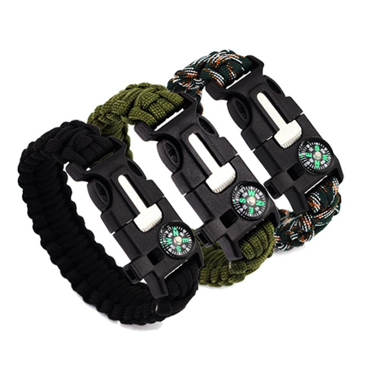 5 IN 1 Men's Paracord Survival Bracelet Camping Outdoor Rescue Parachute Cord Flint Fire Starter Buckle Whistle Compass Kits