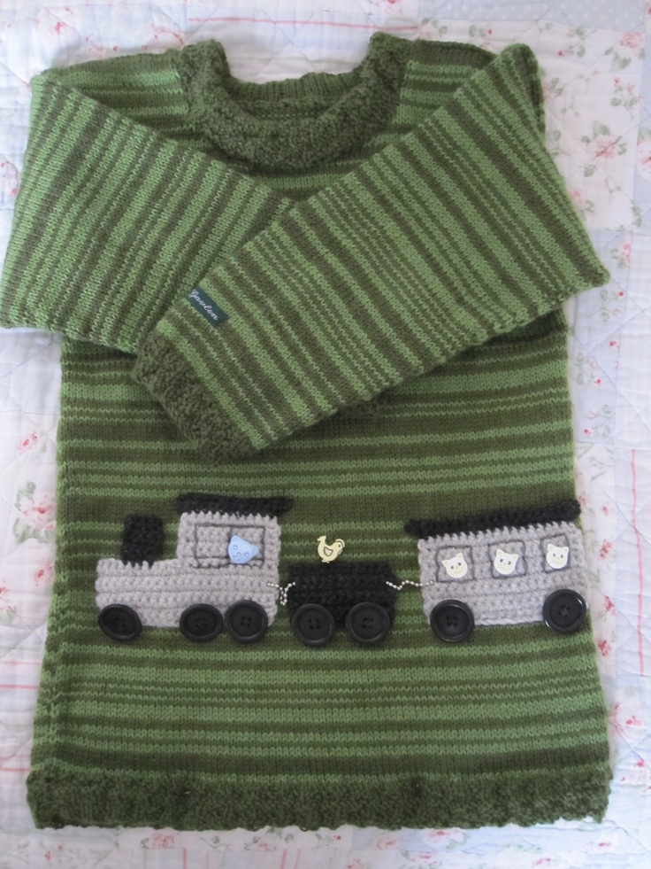 Drengetrøje str. 3 år #sweater #boy #train #design #knitting #gallerigavlen