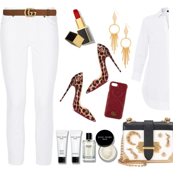 white and leopard by marie-de on Polyvore featuring Piazza Sempione, Burberry, Christian Louboutin, Prada, Vanessa Mooney, Gucci, Tom Ford and Bobbi Brown Cosmetics