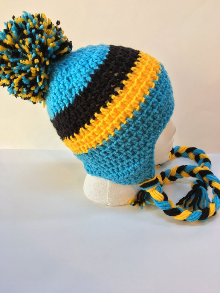 Hand crocheted St Lucia flag hat made to order in sizes toddler through adult, also available custom made in any other flag colors