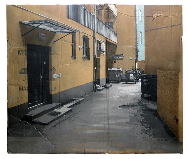 Cardboard Apartments. By german artist EVOL. Cardboard, spraypaint, stencils