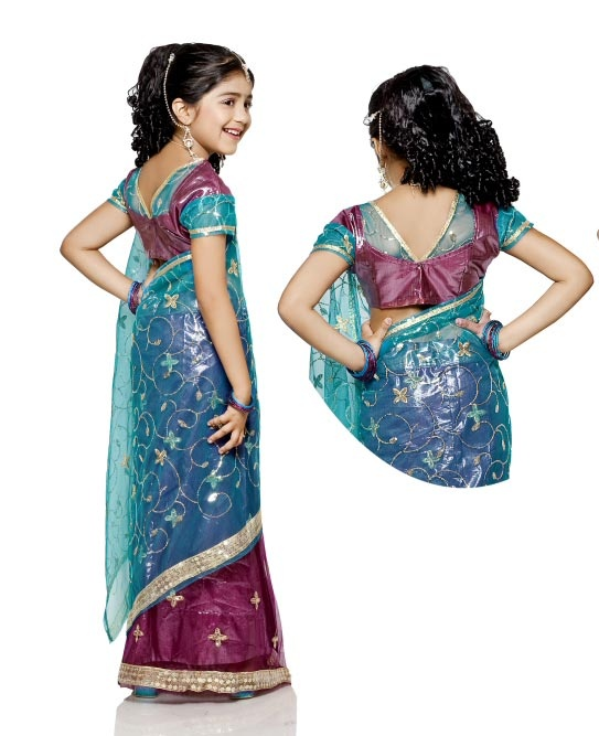 US$ 102.07: #Violet Tissue Indian #Kids #Saree | Get It Here: http://www.sareegalaxy.com/pages/itemlarge.aspx?itemcode=CKIB12