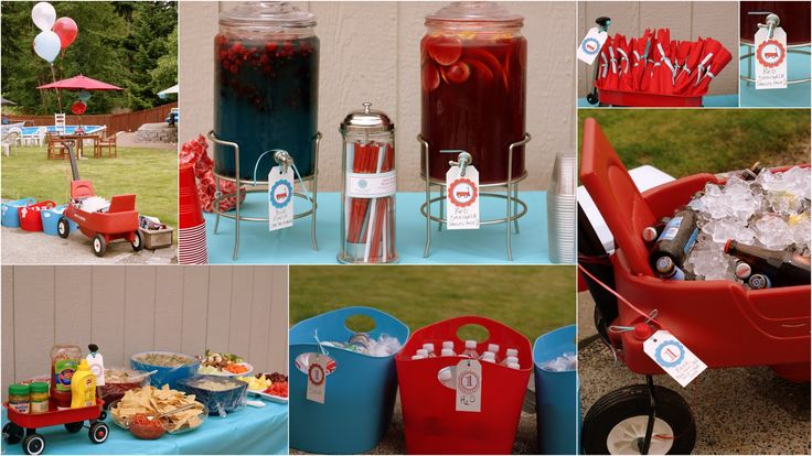 sometimes being a brother is even better than being a superhero: The Decorations - A Red Wagon First Birthday!