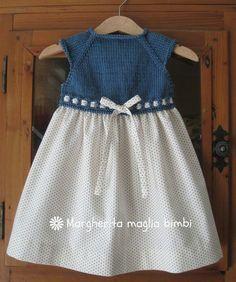 Abito bimba primavera, sprone a maglia blu denim, gonna cotone americano pois…
