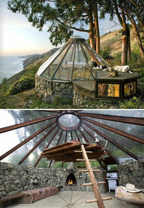 While it looks like a greenhouse, this coastal home in California, built by Mickey Muennig, has a removable window which helps keep the place cool..