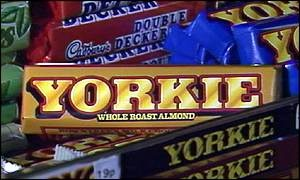 Yorkie chocolate bar - this is an image of the discontinued Whole Roast Almond Yorkie Bar... a sad loss in the chocolate world
