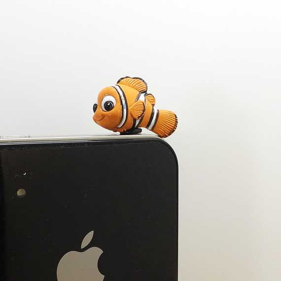 20%OFF Cute Funny Orange Clownfish Nemo 3.5mm Cell Phone Plug iPhone 4 4S 5 5S Dust Plug Samsung Charm Headphone Jack Ear Cap on Etsy, $2.88