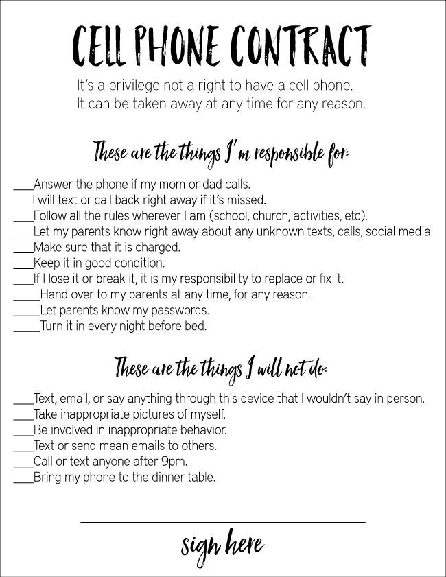 Cell phone contract - an awesome guideline for kids technology.  Print it out from http://www.thirtyhandmadedays.com