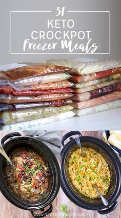 Check out this list of31 Keto Crockpot Freezer Meals. Includes FREE download of 10 printable recipes and a printable shopping list!