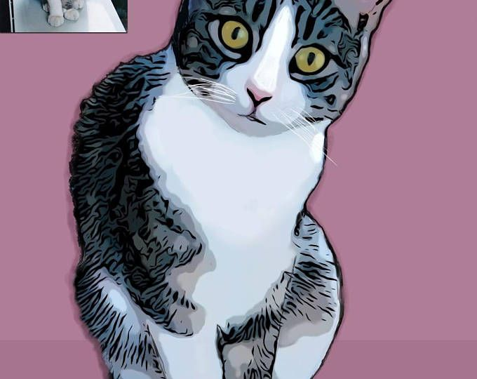 Ritratto di gatto personalizzato - Illustrazione personalizzata - Download - Stampa artistica gatto  Ritratto digitale animale domestico