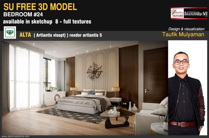 FREE #SKETCHUP 3D MODEL elegant modern bedroom #24 #artlatis render, full #artlantis alta. Courtesy by interior design Taufik Mulyaman http://www.sketchuptexture.com/2014/11/free-sketchup-model-elegant-modern-bedroom-24-artlantis-render.html —