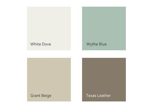 Benjamin Moore's White Dove, Wythe Blue, Grant Beige & Texas Leather