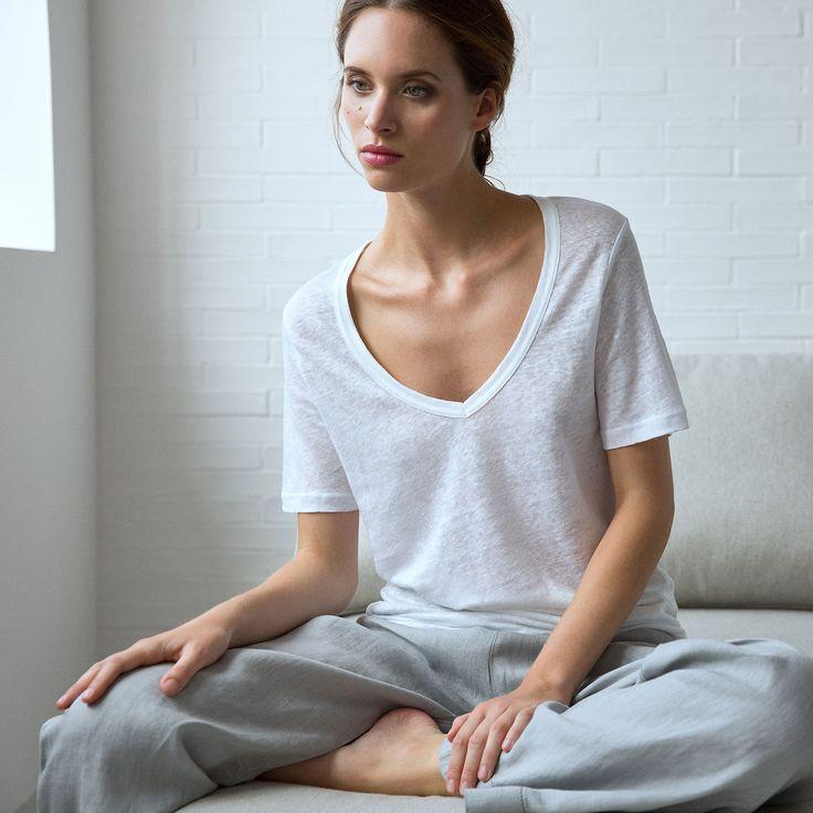 T shirt linho t shirts women 39 s homewear homewear - Zara home portugal ...