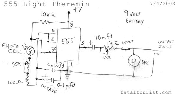 Optical Theremin using 555