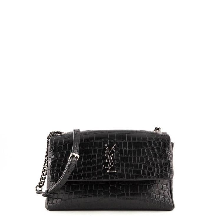 Saint Laurent Black Matte Croc Embossed Medium West Hollywood Bag - LOVE that BAG - Preowned Authentic Designer Handbags - $2500 CAD