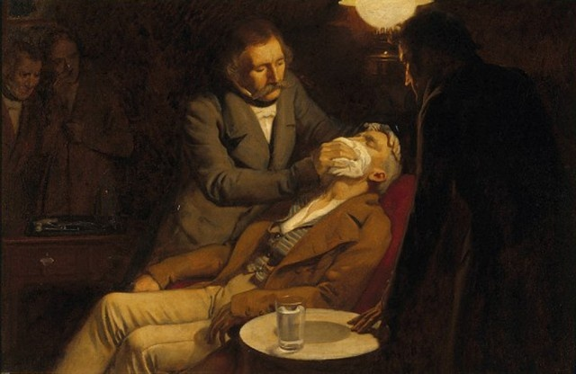 Oil painting of the first dental surgery with anesthesia, 1846