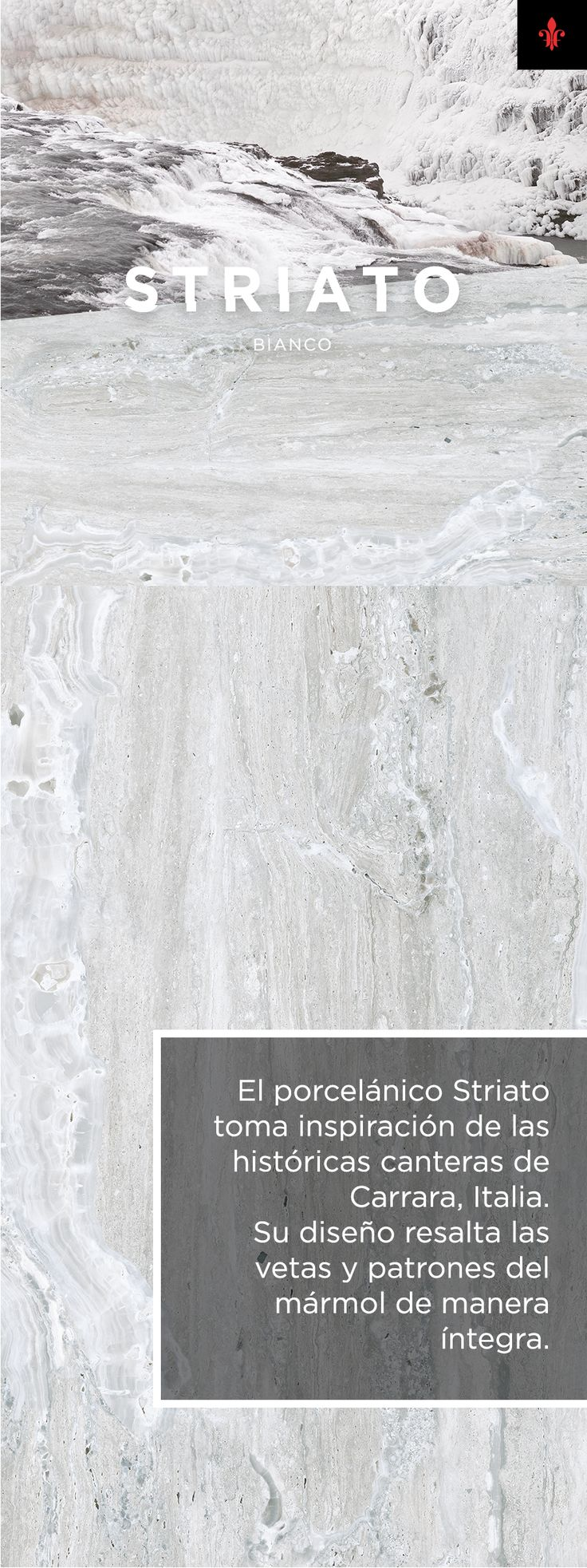 El porcelánico Striato toma inspiración de las históricas canteras de Carrara, Italia. Su diseño resalta las venas y patrones del mármol de manera íntegra.