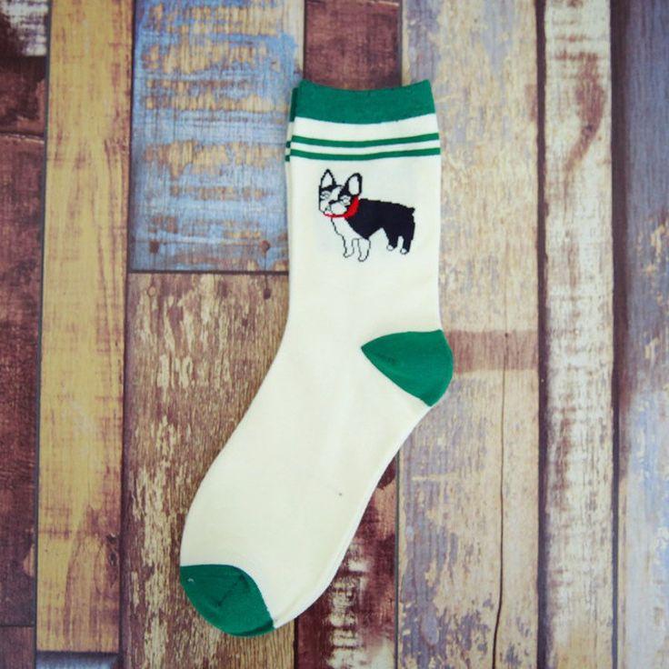 women and men's socks Cotton Husky Pugs 5 style Faithful dog Embroidery
