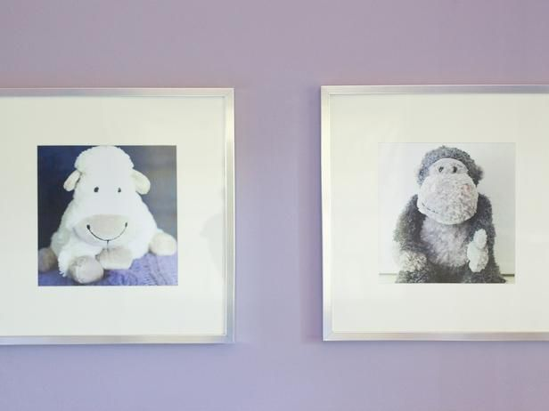 Take photos of the girls' favorite toys and frame them for custom art. What a great idea!